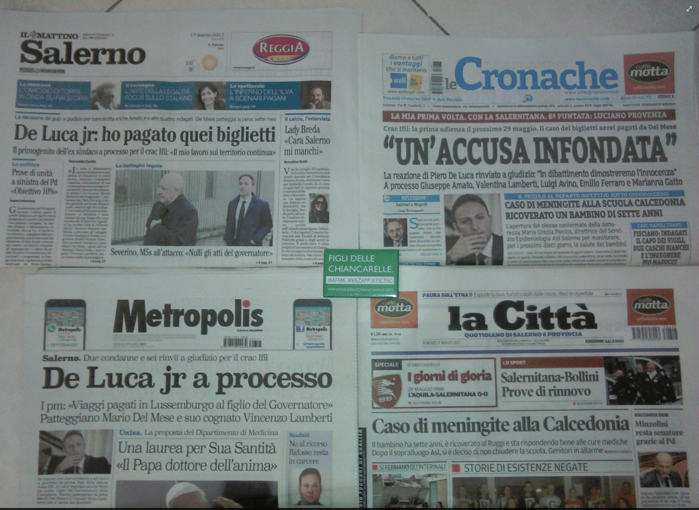 prime pagine quotidiani de luca piero crac ifil